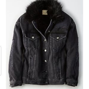 19d06386960 AEO Distressed Faux Fur Boyfriend Jacket. NWT.  69  99. Size  XS · American  Eagle Outfitters